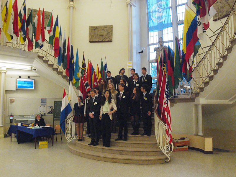 The lobby of Stedelijk Gymnasium during the LEMUN 2013 Conference photo