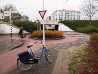 My little bike and a bicycle roundabout at Leiden, The Netherlands