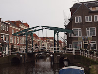 The Kerkbrug, a traditional lift bridge in Leiden, on the Oude Rijn (Old Rhine)