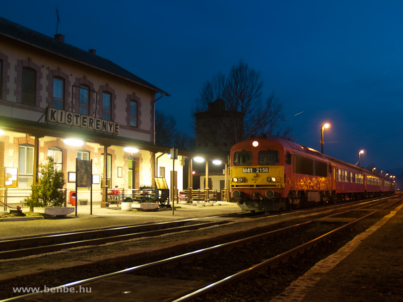 A fast train with M41 2156 at Kisterenye station photo