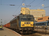 The V63 024 at Pécs with an empty freight train headed to Bosnia-Herzegovina