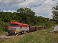 The ŽSSKC 751 026-6 seen at Gemerská Hôrka zastávka as the banker engine of a manipulák, a local freight train on the line Plesivec-Muran