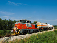 The M47 1203 is seen hauling the local freight between Dunaalmás and Almásfüzitő