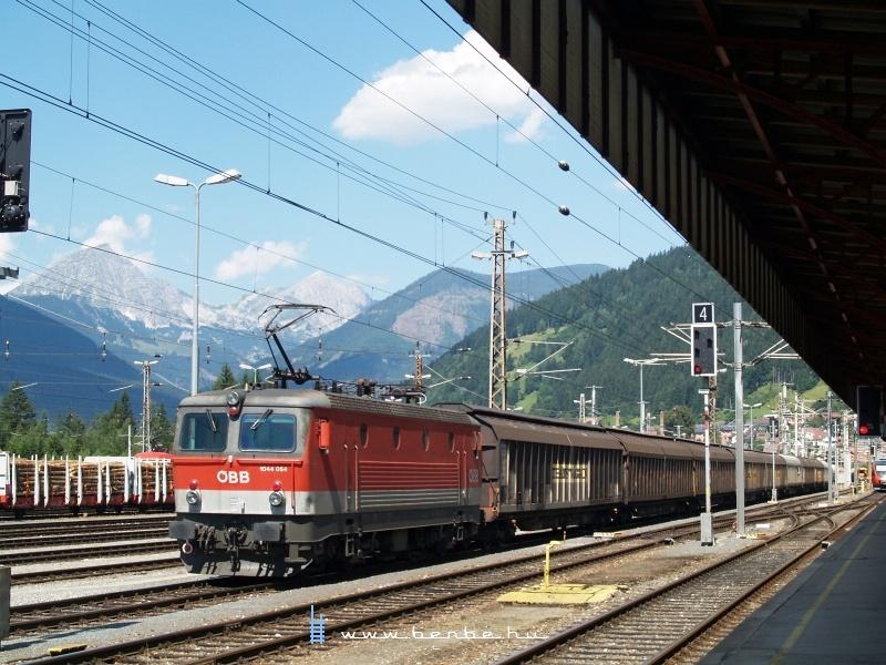 A 1044 054 a két DB/Railion 185-ös által vontatott tehervonatra áll rá tológépnek Selzthalban fotó