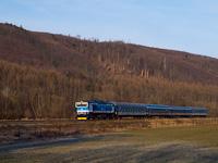 The ČD 750 713-0 seen between Tetčice and Omice