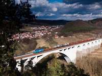 The ČD Cargo 230 008-7 seen hauling a freight train on the viaduct between Tišnov and Dolní Loučky