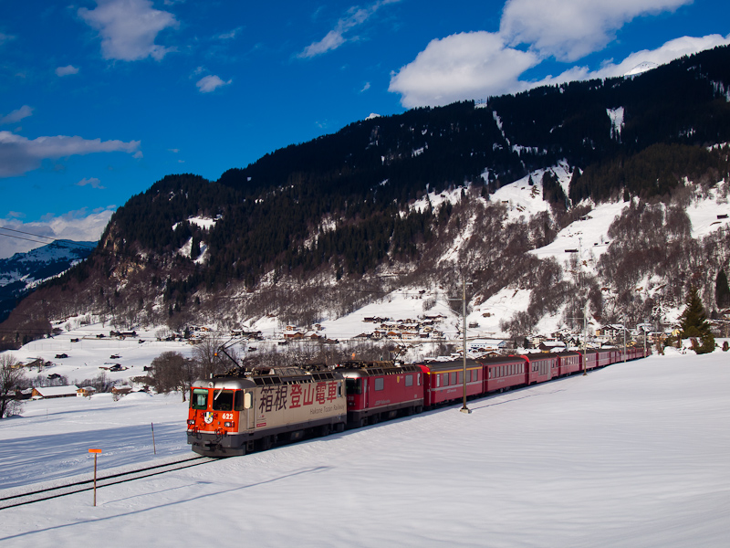 The Rhätische Bahn Ge 4/4 II  622 és 628 seen between Klosters Dorf and Klosters photo