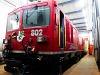 The Gem 4/4 802 electro-diesel locomotive seen at Poschiavo
