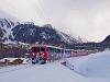 The Rhätische Bahn ABe 4/4<sup>III</sup> 55 és 51 seen between Pontresina and St. Moritz