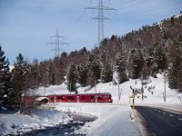 The Rhätische Bahn ABe 8/12 3508 seen between Morteratsch and Bernina Suot