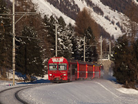 The Rhätische Bahn BDt 1756 seen between Punt Muragl and Pontresina/Puntraschigna
