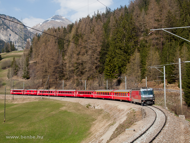 The Ge 4/4 III  651  Glacier on Tour  is hauling a St. Moritz to Chur REX on the second level over Bergün photo