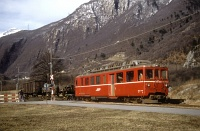 The RhB/BM BDe 4/4 491 DC electric railcar by San Vittore station of the Bellinzona-Mesocco railway on 27/02/1989.