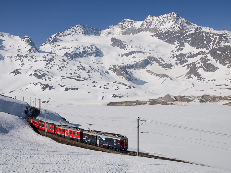 The RhB ABe 4/4 III  52 and 54 seen between Ospizio Bernina and Bernina Lagalb photo