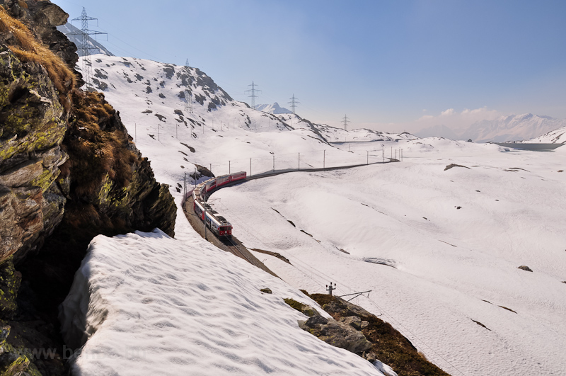 The RhB ABe 4/4 III  53 and 56 between Alp Grüm and Ospizio Bernina photo