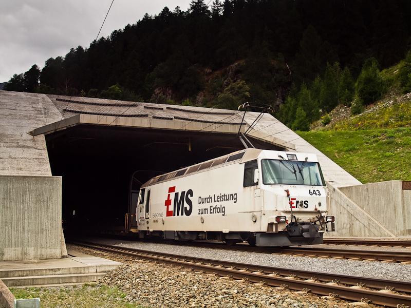 The RhB Ge 4/4 III  643 seen with a car shuttle train near the Vereina-tunnel at Sagliains photo
