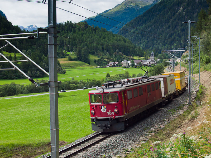 The RhB Ge 6/6 II  704 seen between Susch and Sagliains photo