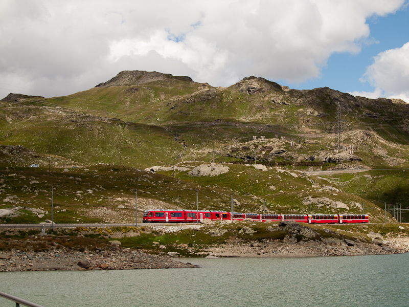 A Stadler Allegra trainset hauled the Bernina-Express near Ospizio Bernina photo