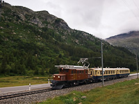 The historic Bernina Crocodile Ge 4/4 182 electric locomotive with two Alpine-Classic Pullman coaches between Morteratsch stop and Bernina Suot station on the way up the Berninapass