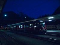 Poschiavo-Landquart  tehervonat  Allegrával Pontresina állomás átkapcsolható feszültségű vágányán