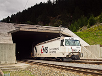 The RhB Ge 4/4<sup>III</sup> 643 seen with a car shuttle train near the Vereina-tunnel at Sagliains