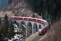 The Rhätische Bahn (RhB) ABe 8/12 3508 seen between Alvaneu and Filisur on the Schmittentobel-Viaduct