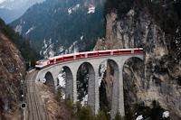 The Rhätische Bahn Ge 4/4<sup>III</sup> 641 seen between Filisur and Alvaneu