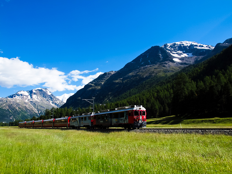 The Rhätische Bahn ABe 4/4 III  55+51 seen between Surovas and Morteratsch photo