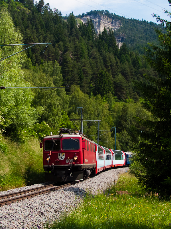 The Rhätische Bahn Ge 4/4 I  605 seen between Surava and Tiefencastel photo