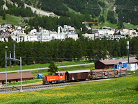 The Rhätische Bahn (RhB) Tm 2/2 113 seen at Pontresina