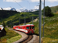 The Matterhorn-Gotthardbahn Deh 4/4<sup>I</sup> 21 seen between Dieni and Rueras