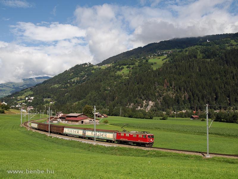 The RhB Ge 4/4 I  605  Silvretta  between Ilanz and Castrisch hauling a Valserzug photo