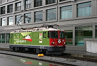 The RhB Ge 4/4<sup>II</sup> 630 <q>100 Jahre Chur-Disentis</q> at Landquart station