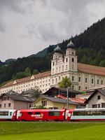 The Glacier-Express and the monastery of Disentis/Mustér
