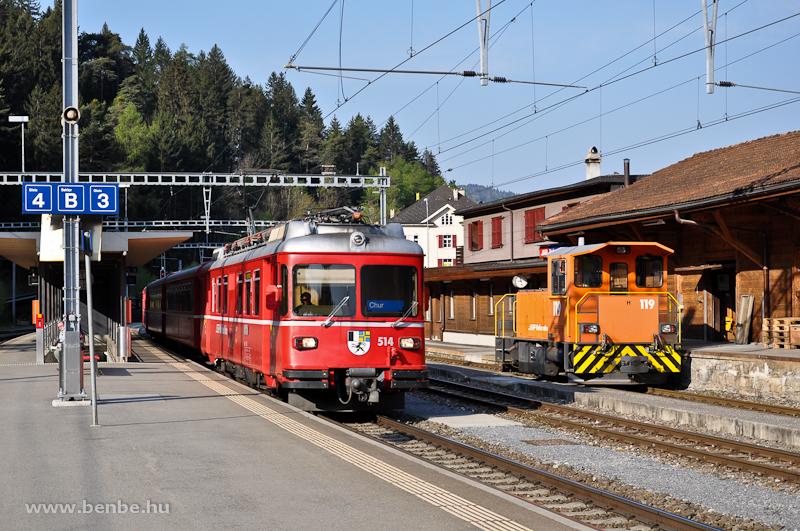 A Tm 2/2 119 és a Be 4/4 514 Reichenau-Taminsban fotó