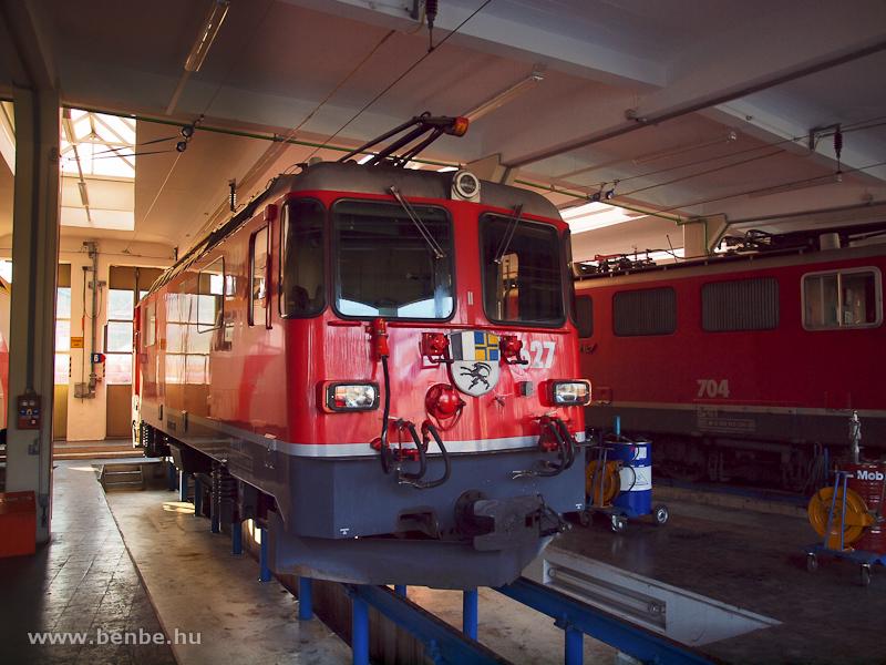Az RhB Ge 4/4 II  627  Reichenau-Tamins  a landquarti fűtőházban fotó