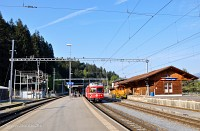 The Be 4/4 514 and Tm 2/2 119 at Reichenau-Tamins