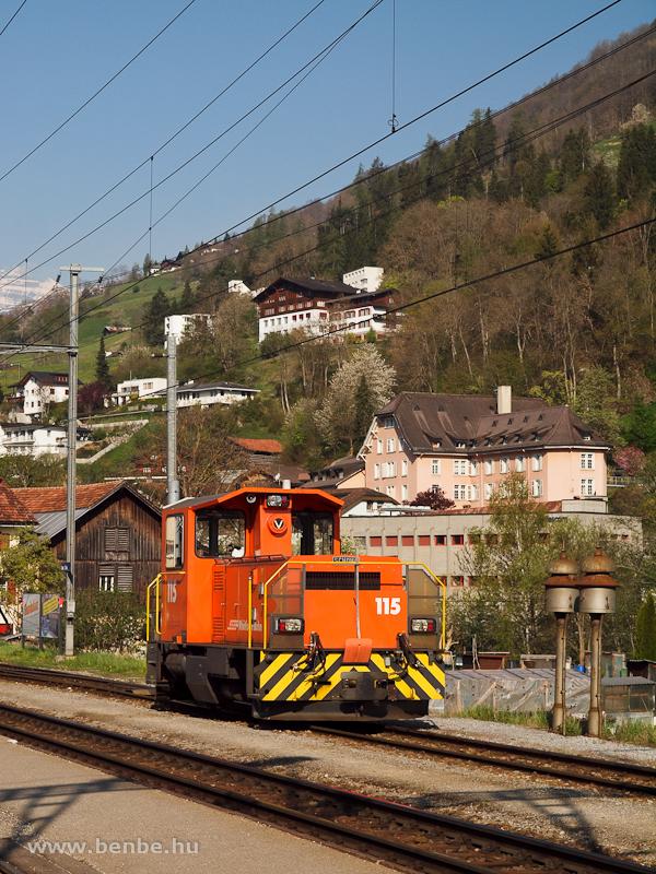 Az RhB Tm 2/2 115 pályaszámú Schöma-tolatómozdony Ilanz állomáson fotó