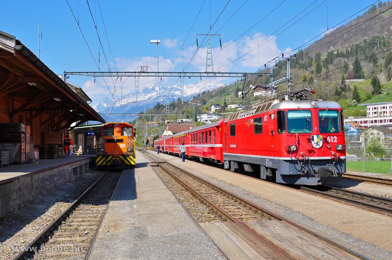 Az RhB Ge 4/4 II  612 és a Tm 2/2 115 Ilanz állomáson fotó