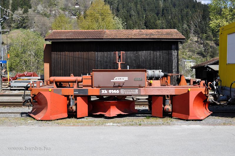 Az RhB Xk 9146-os pneumatikusan állítható hóekéje Ilanzban fotó