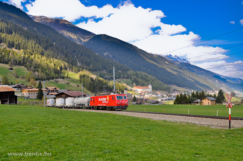 The MGB HGe 4/4 II  106  Glacier-Express  with a short rack freight train by Disentis photo