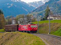 The MGB HGe 4/4<sup>II</sup> 106 <q>Glacier-Express</q> with a short rack freight train by Disentis