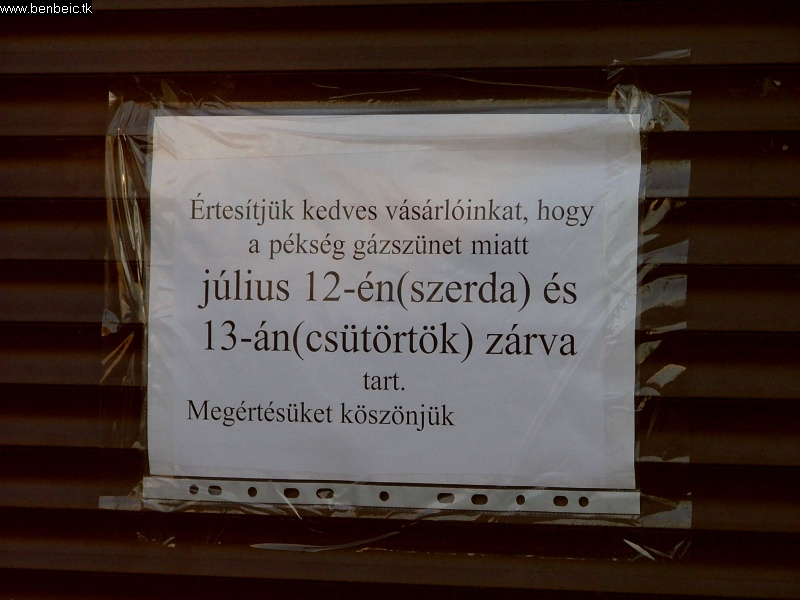A pékség zárva fotó