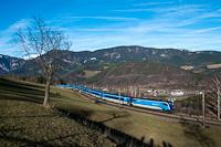 Az ÖBB 1216 237 <q>ČD railjet Taurus</q> Küb és Eichberg között a híres fotóhelyen