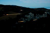 Light streaks in the Weinzettelwandtunnel