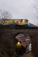 The CityBahn Waidhofen VT 17 seen between Waidhofen an der Ybbs and Waidhofen an der Ybbs Schillerpark