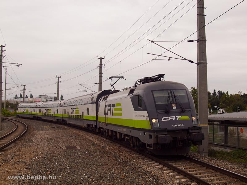 Az ÖBB/CAT (City Airport Train) régi festésében pompázó 1116 142-9 Schwechat állomáson fotó