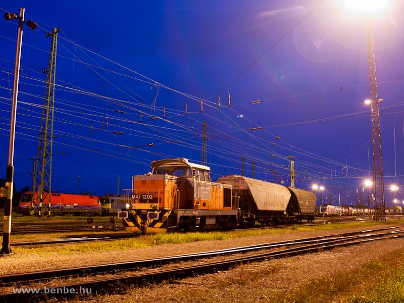 Az M47 1202 tolat Hegyeshalomban a kék órában fotó