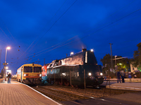 The M�V 242,001, the Bzmot 372 and the �BB 1116 011-6 at Hegyeshalom station in the blue hour
