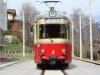 An imposant DÜWAG tram in top condition is waiting for its run down to Innsbruck